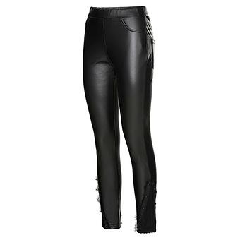 Leggings in Veggie-Leder-Optik, schwarz