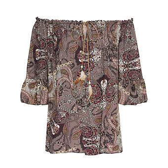 Viskose-Bluse mit Paisley-Motiven, taupe