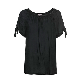 Carmen-Bluse mit Crincle-Struktur, schwarz