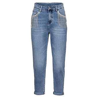 Mom-Jeans mit Ketten, light blue denim