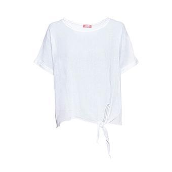 Leinen-Bluse mit Knoten, weiß
