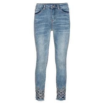 Skinny-Jeans im Ethno-Look, light blue denim