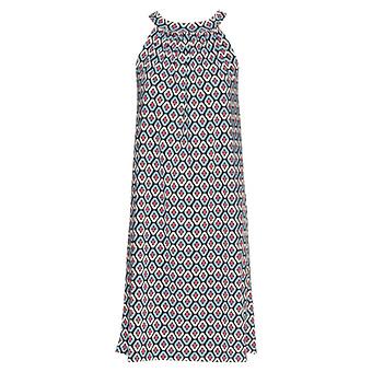 Neckholder- Kleid im Ethno-Look, blau