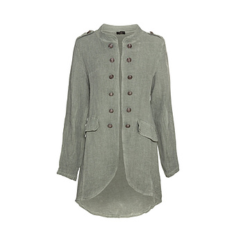 Leinenjacke im Military-Look, khaki