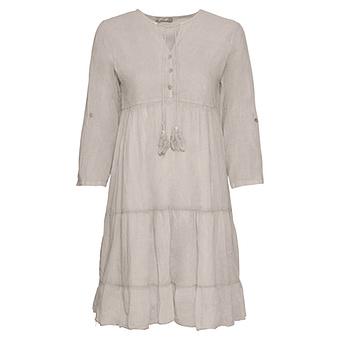 Midi-Kleid mit Volants, sand