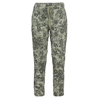 Hose in Floral-Optik, khaki