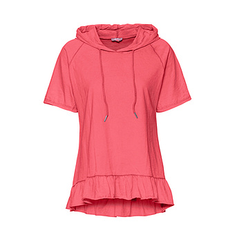 Shirt mit Volant-Saum, sorbet