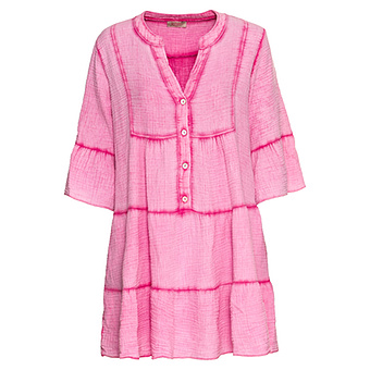 Midi-Kleid mit Volants, pink glow