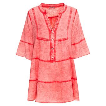 Midi-Kleid mit Volants, sorbet