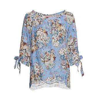Bluse im Floral-Print, eiskristall