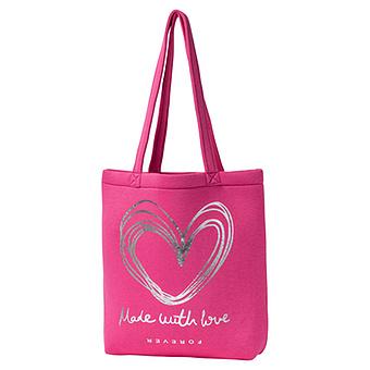 Shopper mit Metallic-Schriftzug, pink