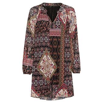 Plissee-Kleid im Alloverprint, schwarz