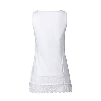 Basic Top aus Baumwolle mit Spitze 76 cm, weiß