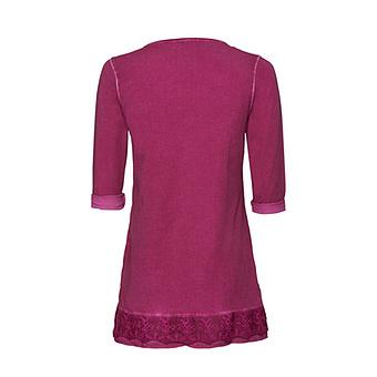 Basic Shirt mit Spitze 3/4 Arm, magenta