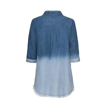 Bluse mit Patches 3/4 Arm, light blue