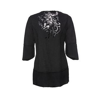 Tunikashirt mit Loch-Design, schwarz