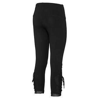 Baumwoll-Leggings mit Floral-Tüll 55cm, schwarz