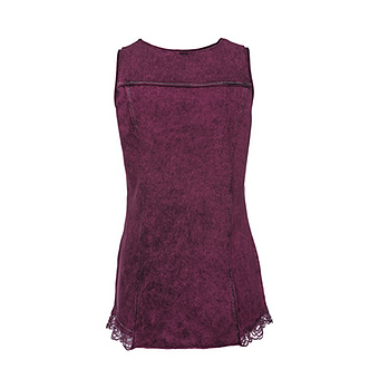 Stone-washed Top mit Stern, plum