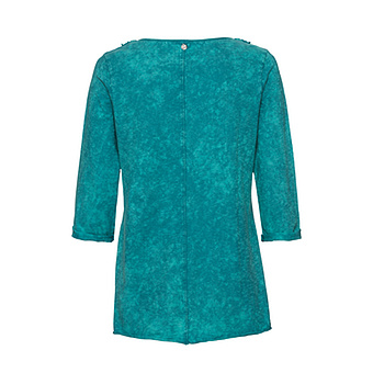 Basic Shirt mit Floralspitze 3/4 Arm, lagune stone washed