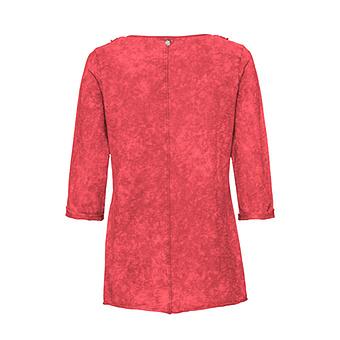 Basic Shirt mit Floralspitze 3/4 Arm, blutorange stonewashed