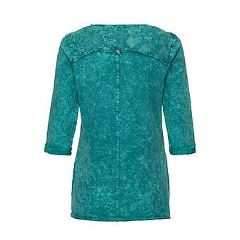 Lockeres Basic Shirt mit Spitzenapplikation und Ziersteinen, lagune