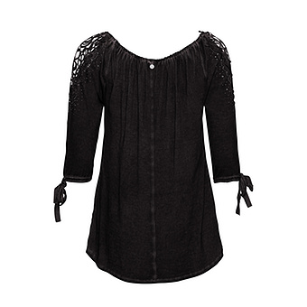 Basic Shirt mit Viskose, schwarz