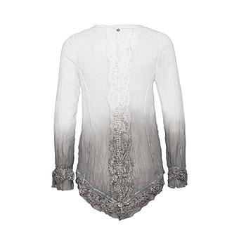 Bluse mit Spitze und dip-dye-Optik, offwhite