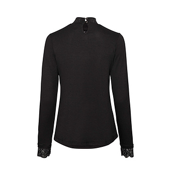 Shirt mit Spitzen und Nieten, schwarz