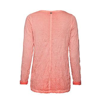 Basic Shirt mit Häkelspitze, peach