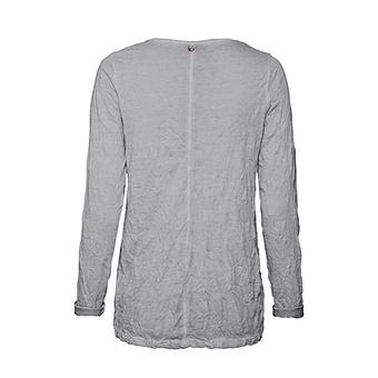 Basic Shirt mit Häkelspitze, silber crashed
