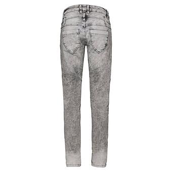 Jeans mit seitlichen Ziernieten und Stickerei, hellgrau