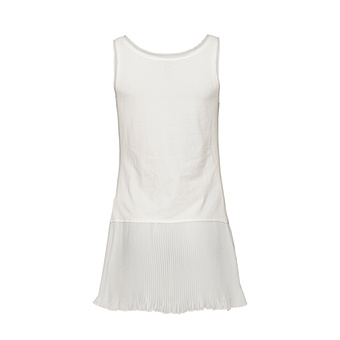 Basic Top mit Plissee- Chiffonsaum, offwhite