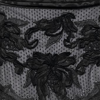 Schal mit besticktem Tüll, schwarz