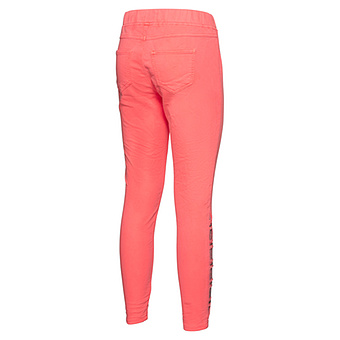 Jeggings mit Glitzersteinchen 70cm, neon koralle crashed