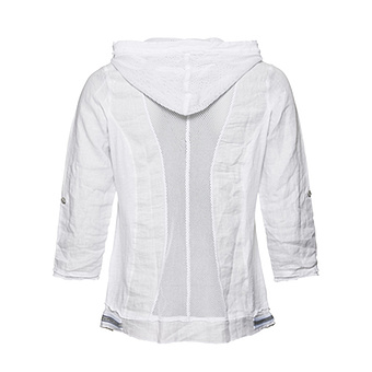 Leinen- Bluse mit Kapuze, weiss