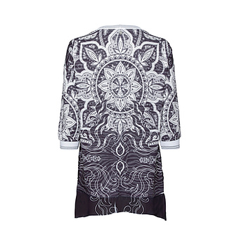 Chiffon-Shirt mit Print, schwarz
