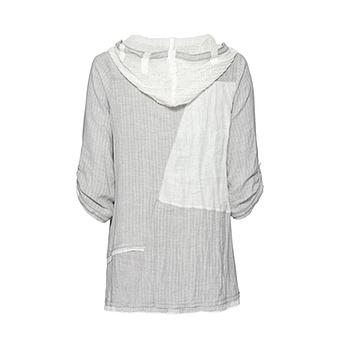 Bluse im gepatchten Look, grau-offwhite