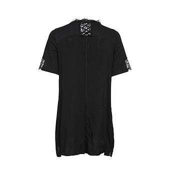 Shirt mit Spitze und Viskose, schwarz