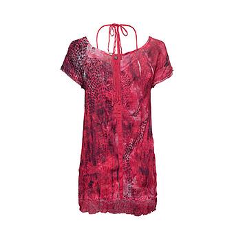 Crash-Shirt mit Neckholder-Optik, hot pink