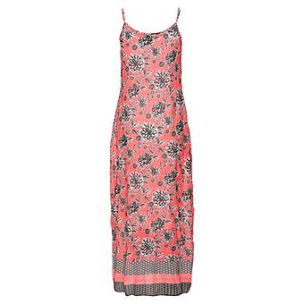 Kleid im floralen Print, neon koralle