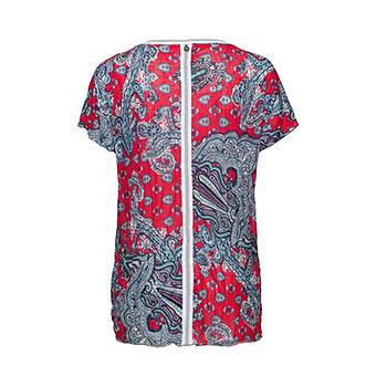 Crash-Shirt im Paisley-Alloverprint, hot pink