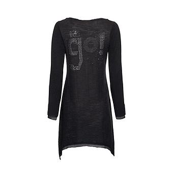 Basic Shirt mit Schmucksteinen, schwarz