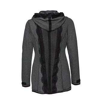 Sweat-Jacke mit Spitze, anthra-melange