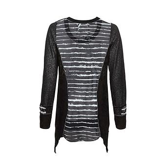Shirt mit Loch-Struktur, schwarz-offwhite
