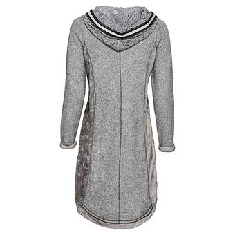 Strick-Kleid mit Samt, grau-meliert
