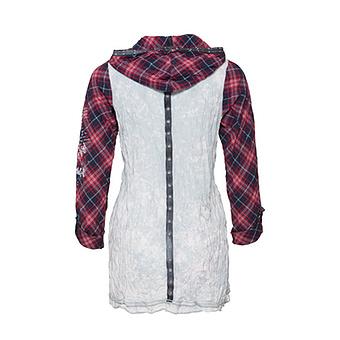 Karo-Bluse Cotton/Viskose, rot
