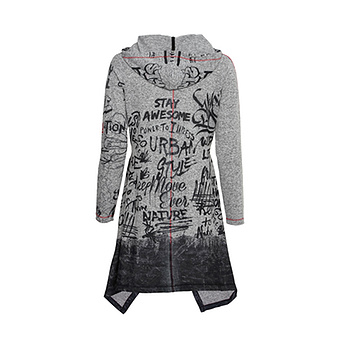 Kapuzen-Shirt im Vokuhila-Schnitt, grau