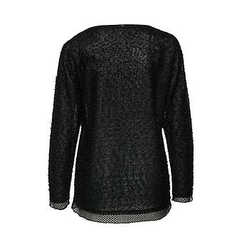 Struktur-Shirt mit Front-Print, schwarz
