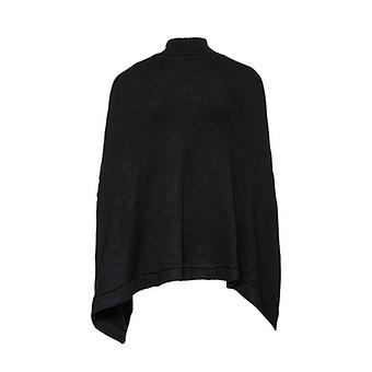 Poncho-Pullover mit Steh-Kragen, schwarz