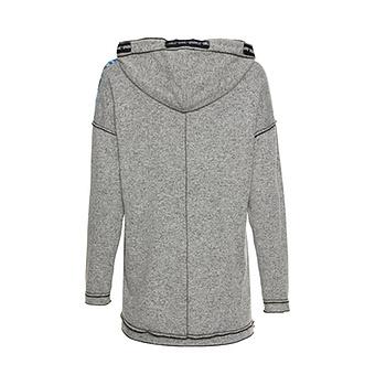 Kapuzen-Shirt mit Print, grau melange